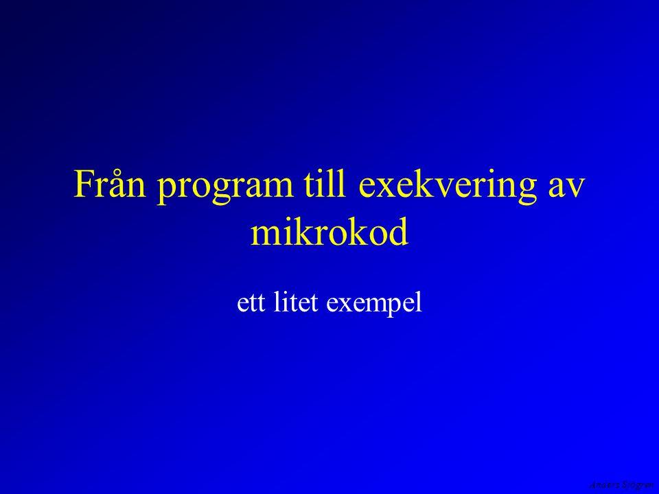 Anders Sjögren Från program till exekvering av mikrokod ett litet exempel