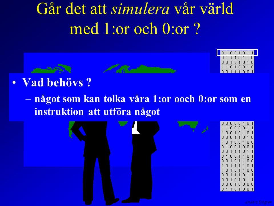 Anders Sjögren CPU-schema Instruktions- register Avkodare Styrkretsar Registerval Flaggor Ackumulator B C E D H L SP PC ALU Primärminne Program Data Styrenhet Databuss Adressbuss Kontrollbuss Mikrokod/minne En simuleringsmaskin som arbetar på detta sätt fungerar efter von Neumanns principer.