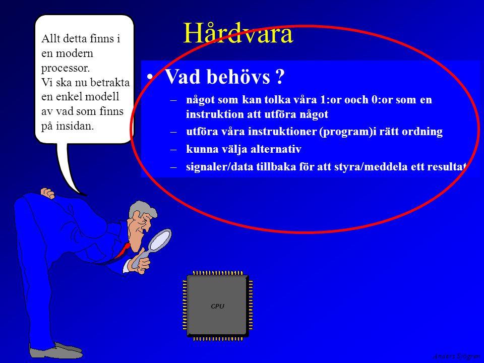 Anders Sjögren Hårdvara Vad behövs ? –något som kan tolka våra 1:or ooch 0:or som en instruktion att utföra något –utföra våra instruktioner (program)