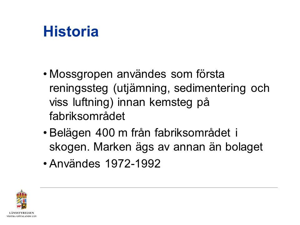 Historia Mossgropen användes som första reningssteg (utjämning, sedimentering och viss luftning) innan kemsteg på fabriksområdet Belägen 400 m från fabriksområdet i skogen.
