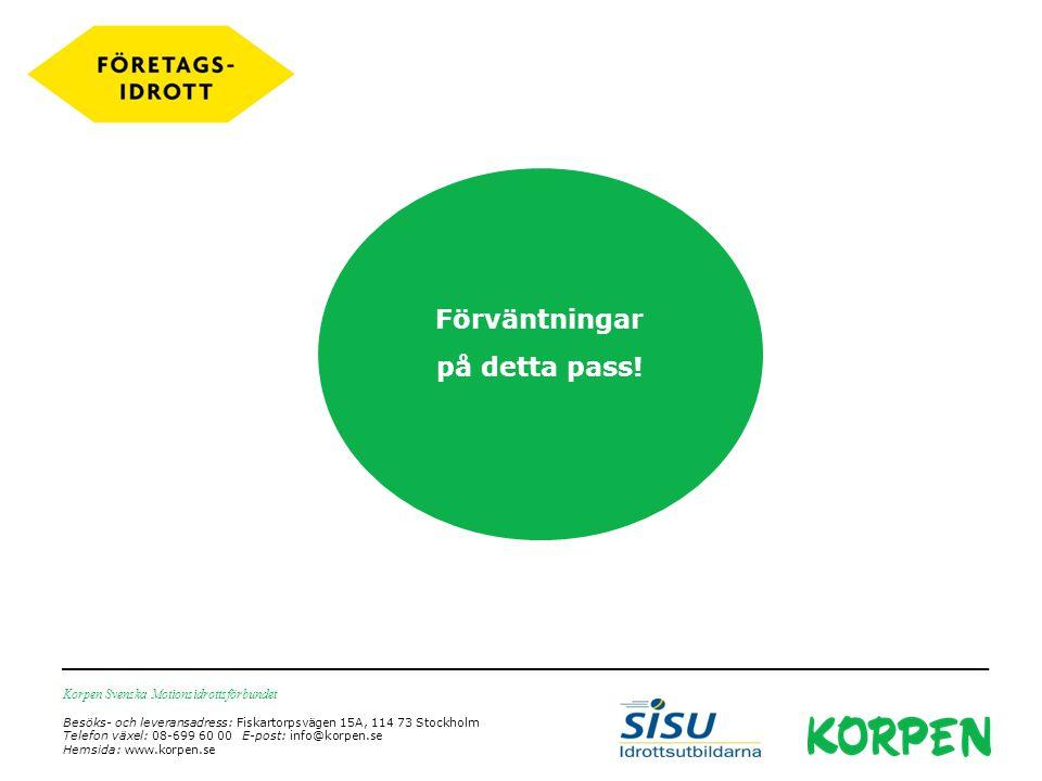 Korpen Svenska Motionsidrottsförbundet Besöks- och leveransadress: Fiskartorpsvägen 15A, 114 73 Stockholm Telefon växel: 08-699 60 00 E-post: info@korpen.se Hemsida: www.korpen.se Förväntningar på detta pass!