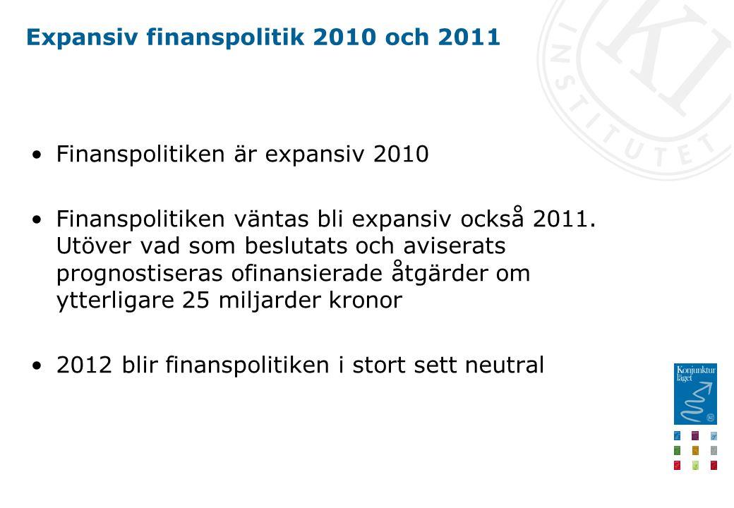Expansiv finanspolitik 2010 och 2011 Finanspolitiken är expansiv 2010 Finanspolitiken väntas bli expansiv också 2011.