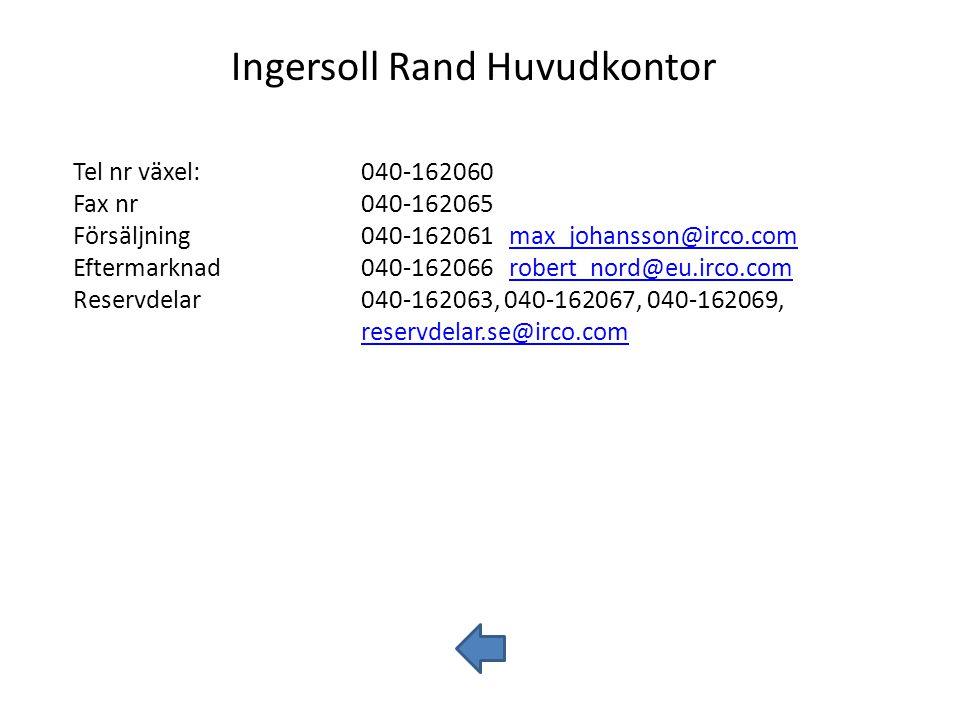 Ingersoll Rand Huvudkontor Tel nr växel:040-162060 Fax nr040-162065 Försäljning040-162061 max_johansson@irco.commax_johansson@irco.com Eftermarknad040