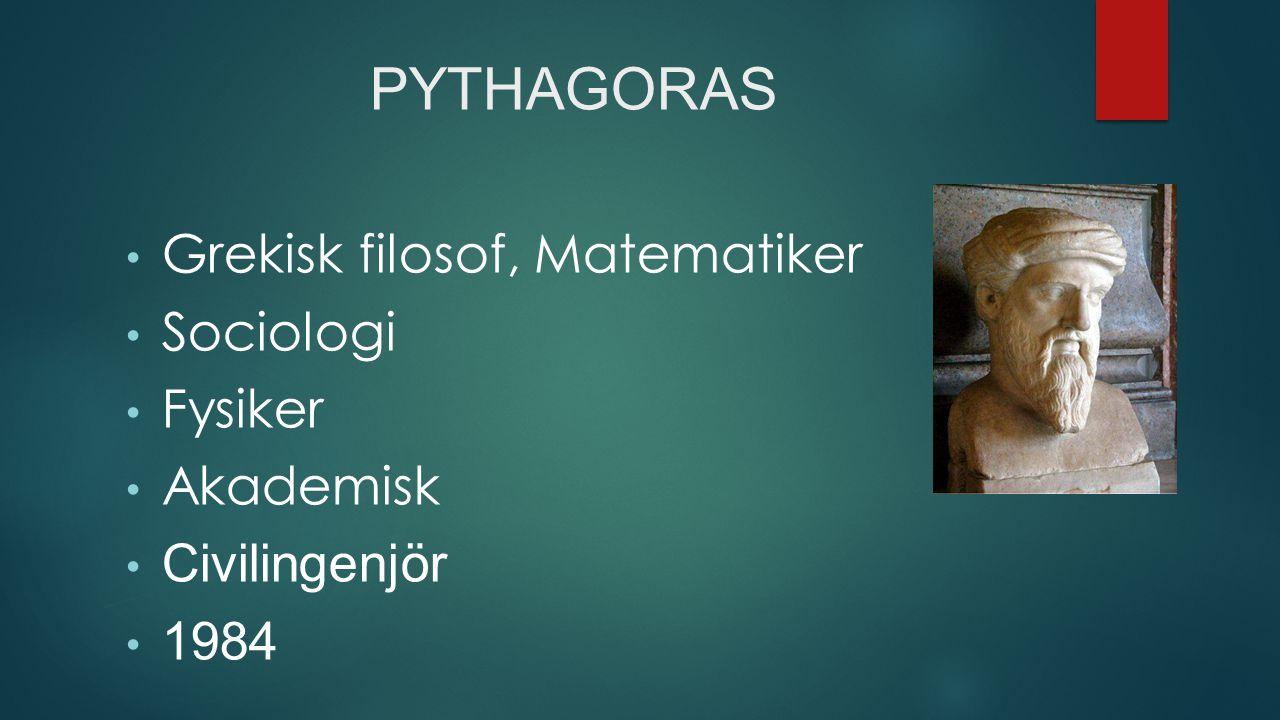 PYTHAGORAS Grekisk filosof, Matematiker Sociologi Fysiker Akademisk Civilingenjör 1984