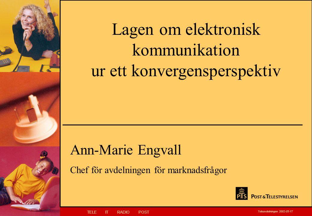 TELEITRADIOPOST Teleavdelningen 2002-05-17 Klicka här för att ändra Klicka här för att ändra format på bakgrundstexten –Nivå två Nivå tre –Nivå fyra »Nivå fem Lagen om elektronisk kommunikation ur ett konvergensperspektiv Ann-Marie Engvall Chef för avdelningen för marknadsfrågor