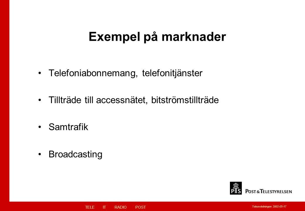 TELEITRADIOPOST Teleavdelningen 2002-05-17 Exempel på marknader Telefoniabonnemang, telefonitjänster Tillträde till accessnätet, bitströmstillträde Samtrafik Broadcasting