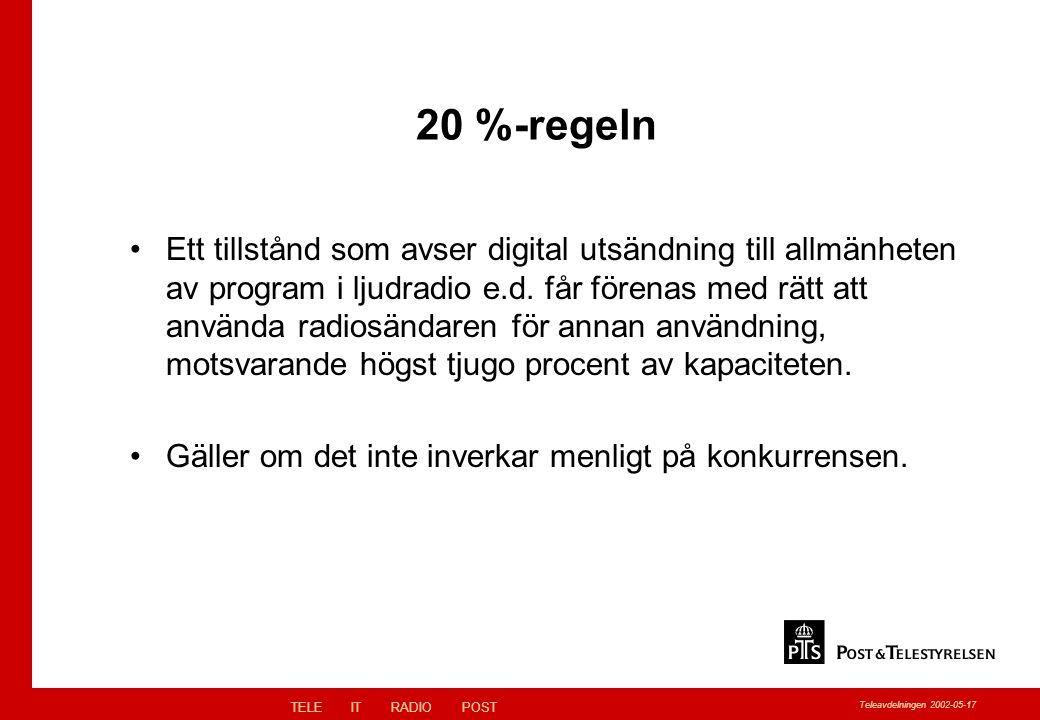 TELEITRADIOPOST Teleavdelningen 2002-05-17 20 %-regeln Ett tillstånd som avser digital utsändning till allmänheten av program i ljudradio e.d.