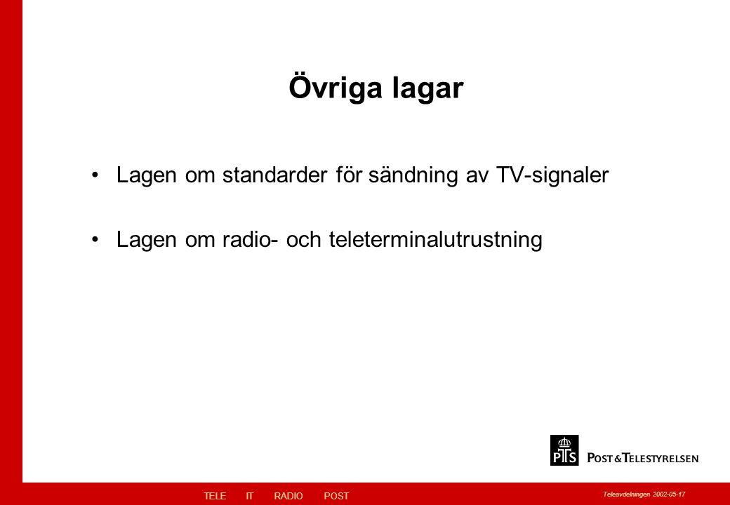 TELEITRADIOPOST Teleavdelningen 2002-05-17 Övriga lagar Lagen om standarder för sändning av TV-signaler Lagen om radio- och teleterminalutrustning
