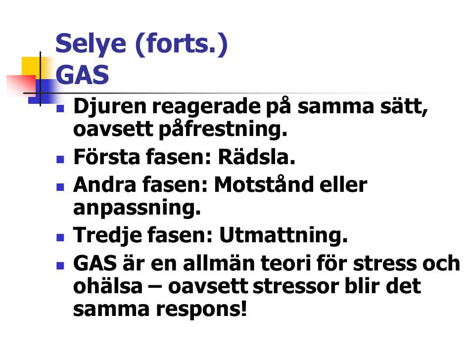Selye (forts.) GAS Djuren reagerade på samma sätt, oavsett påfrestning. Första fasen: Rädsla. Andra fasen: Motstånd eller anpassning. Tredje fasen: Ut