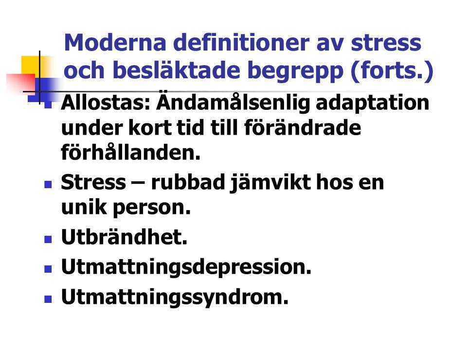 Moderna definitioner av stress och besläktade begrepp (forts.) Allostas: Ändamålsenlig adaptation under kort tid till förändrade förhållanden. Stress