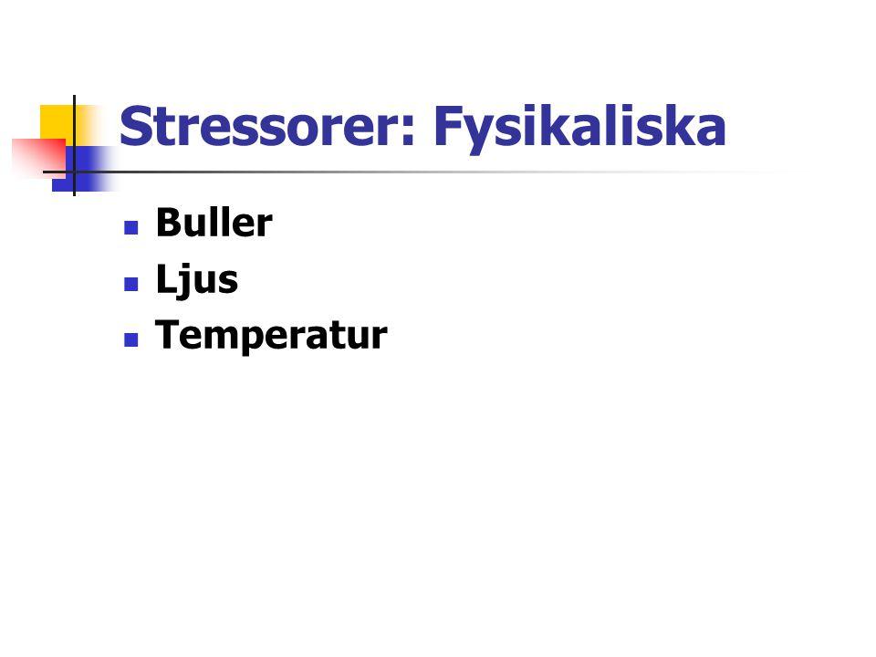Stressorer: Fysikaliska Buller Ljus Temperatur