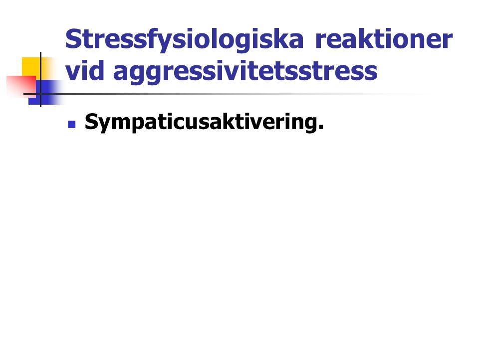 Stressfysiologiska reaktioner vid aggressivitetsstress Sympaticusaktivering.
