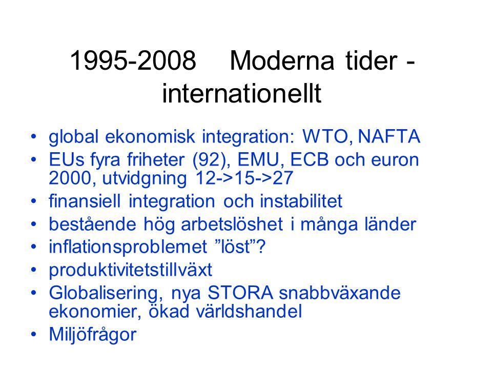 1995-2008 Moderna tider - internationellt global ekonomisk integration: WTO, NAFTA EUs fyra friheter (92), EMU, ECB och euron 2000, utvidgning 12->15->27 finansiell integration och instabilitet bestående hög arbetslöshet i många länder inflationsproblemet löst .
