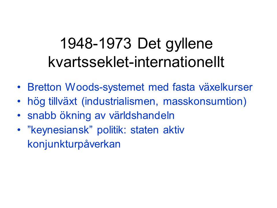 1948-1973 Det gyllene kvartsseklet-internationellt Bretton Woods-systemet med fasta växelkurser hög tillväxt (industrialismen, masskonsumtion) snabb ökning av världshandeln keynesiansk politik: staten aktiv konjunkturpåverkan