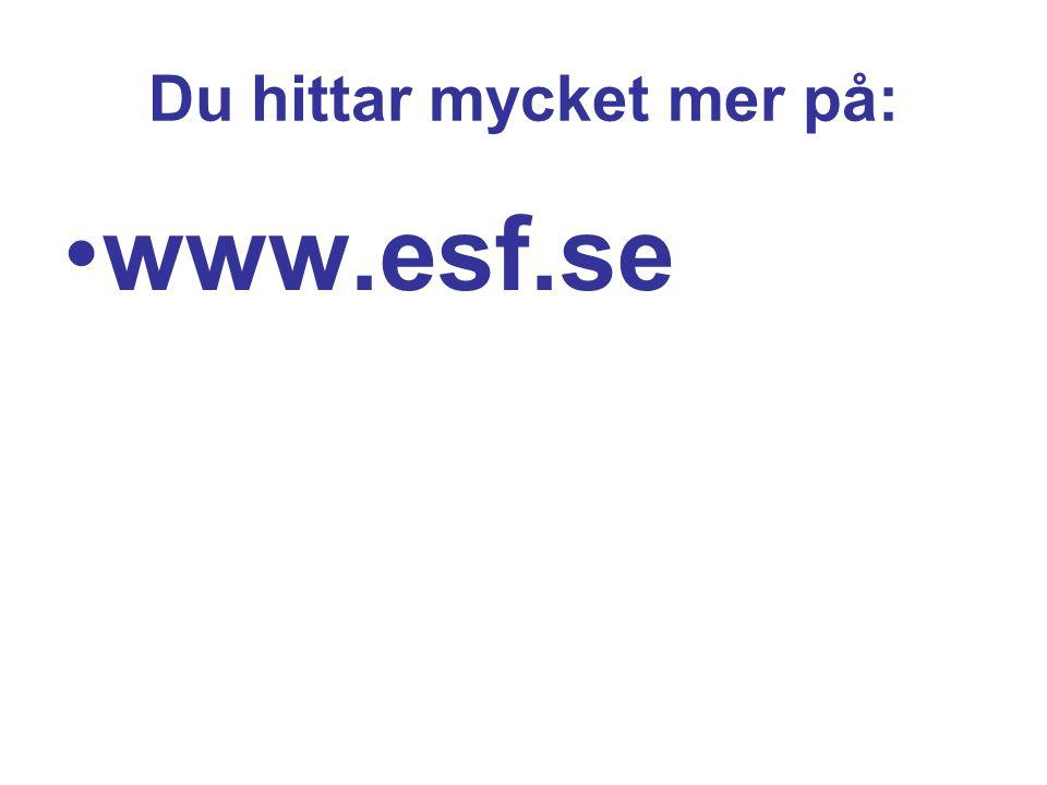 Du hittar mycket mer på: www.esf.se