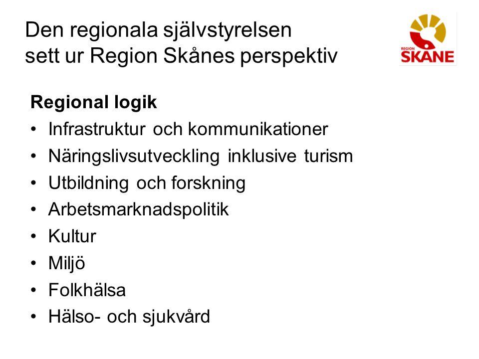 Den regionala självstyrelsen sett ur Region Skånes perspektiv Regional logik Infrastruktur och kommunikationer Näringslivsutveckling inklusive turism Utbildning och forskning Arbetsmarknadspolitik Kultur Miljö Folkhälsa Hälso- och sjukvård