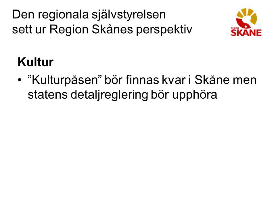 Den regionala självstyrelsen sett ur Region Skånes perspektiv Miljö Strategiskt miljöarbete bör hanteras av det regionala självstyrelseorganet