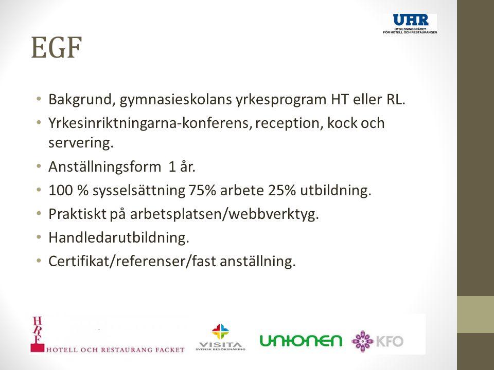EGF Bakgrund, gymnasieskolans yrkesprogram HT eller RL.