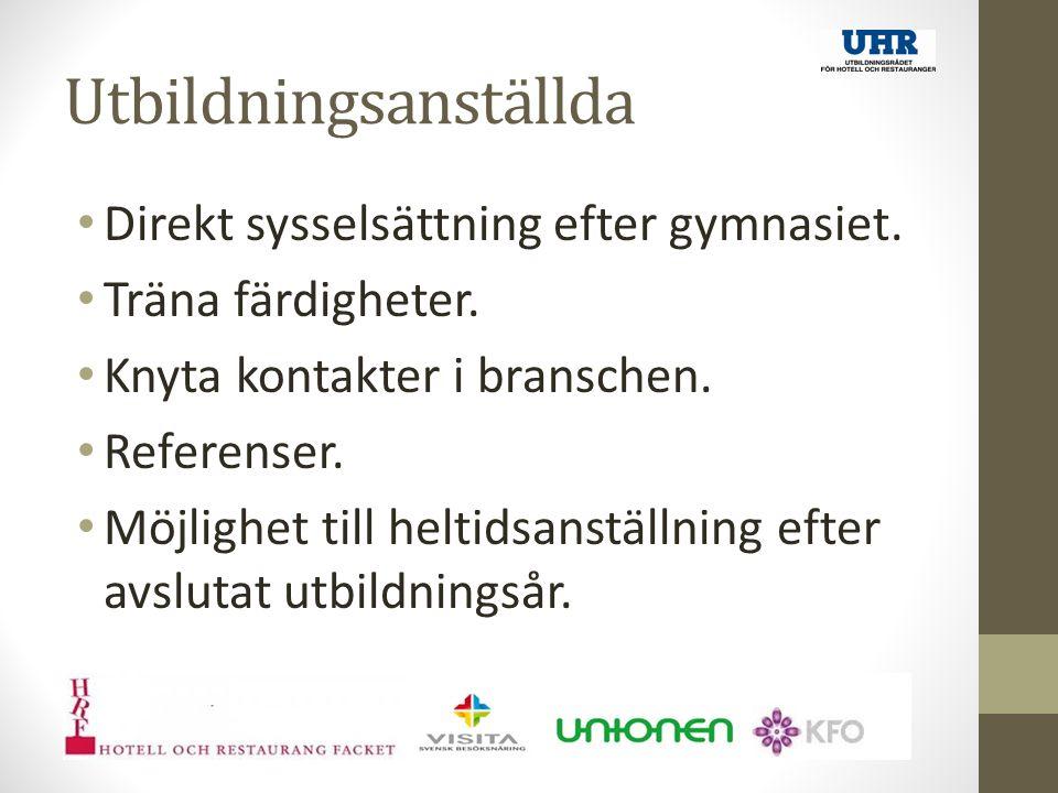 Utbildningsanställda Direkt sysselsättning efter gymnasiet.