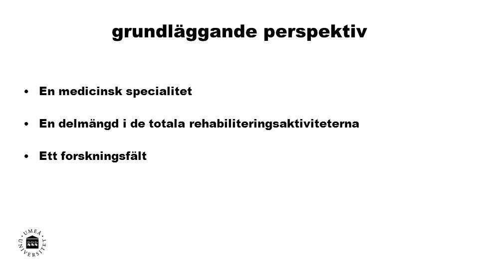 grundläggande perspektiv En medicinsk specialitet En delmängd i de totala rehabiliteringsaktiviteterna Ett forskningsfält