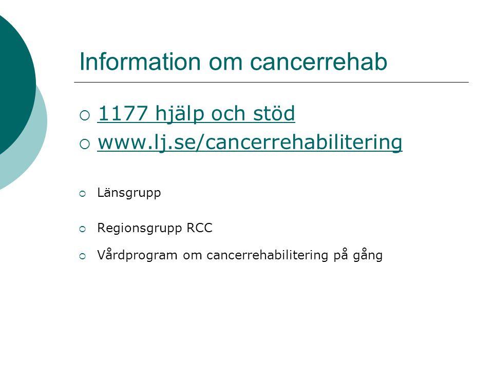 Information om cancerrehab  1177 hjälp och stöd 1177 hjälp och stöd  www.lj.se/cancerrehabilitering www.lj.se/cancerrehabilitering  Länsgrupp  Regionsgrupp RCC  Vårdprogram om cancerrehabilitering på gång