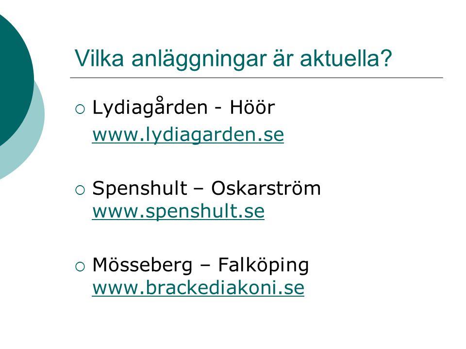 Vilka anläggningar är aktuella?  Lydiagården - Höör www.lydiagarden.se  Spenshult – Oskarström www.spenshult.se www.spenshult.se  Mösseberg – Falkö