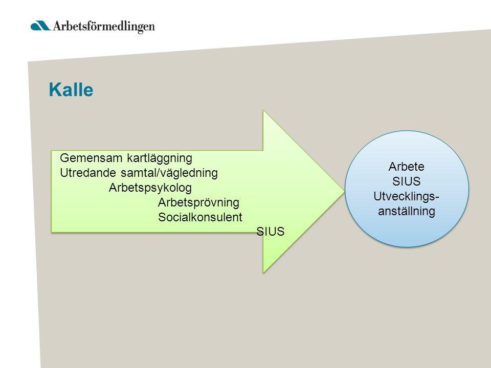 Kalle Arbete SIUS Utvecklings- anställning Arbete SIUS Utvecklings- anställning Gemensam kartläggning Utredande samtal/vägledning Arbetspsykolog Arbet