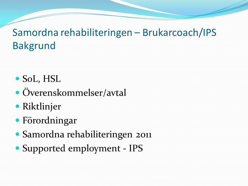 Samordna rehabiliteringen – Brukarcoach/IPS Bakgrund SoL, HSL Överenskommelser/avtal Riktlinjer Förordningar Samordna rehabiliteringen 2011 Supported