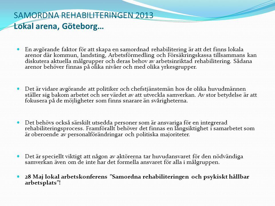 SAMORDNA REHABILITERINGEN 2013 Lokal arena, Göteborg… En avgörande faktor för att skapa en samordnad rehabilitering är att det finns lokala arenor där