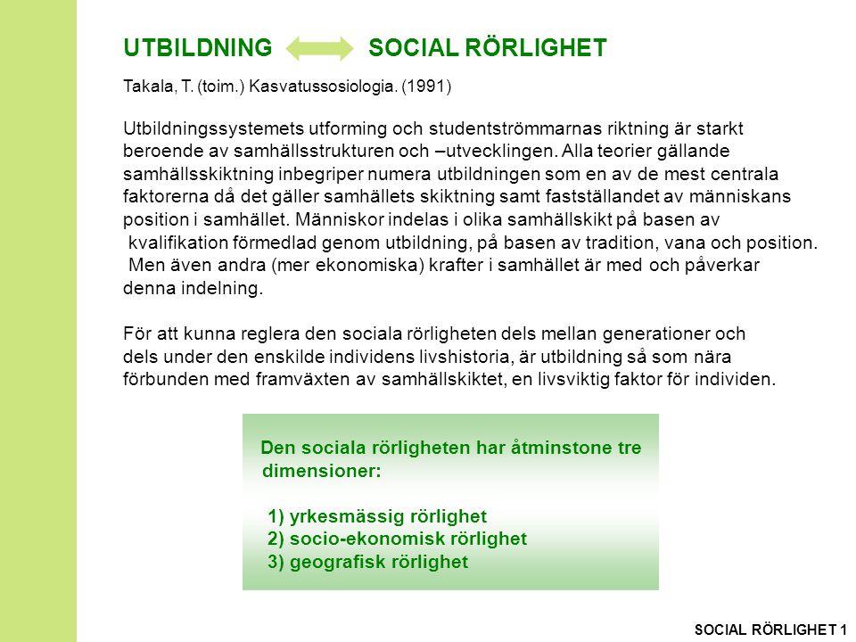 UTBILDNING SOCIAL RÖRLIGHET Takala, T. (toim.) Kasvatussosiologia.