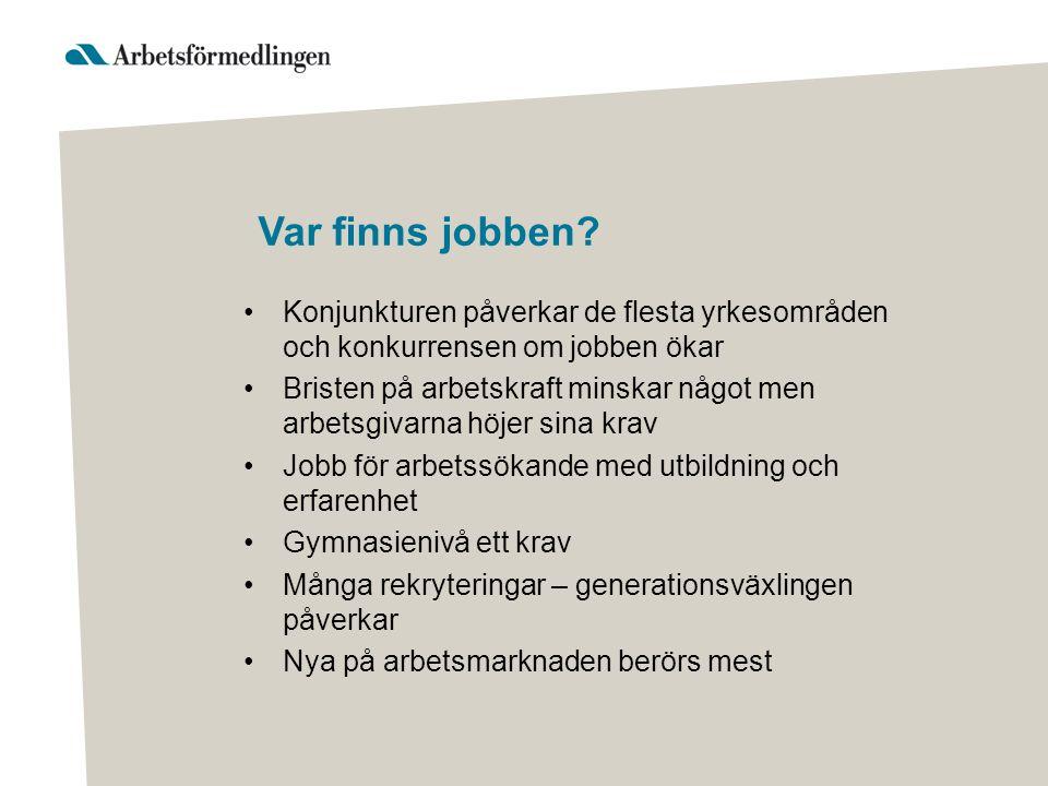 Förändring av antalet sysselsatta per yrkesområde år 2013