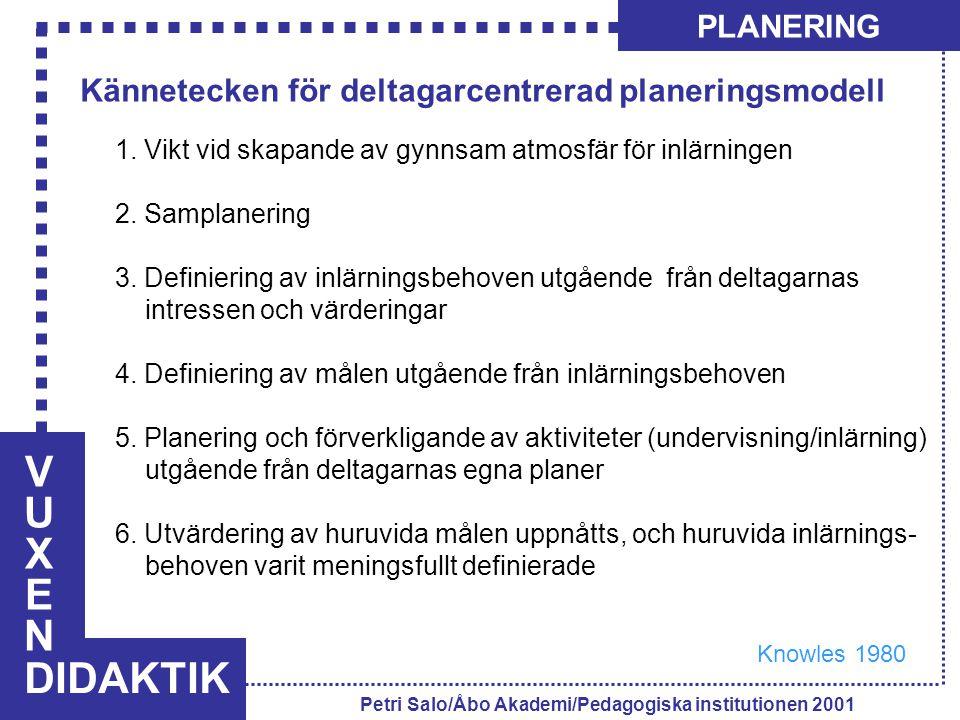 VUXENVUXEN DIDAKTIK PLANERING Petri Salo/Åbo Akademi/Pedagogiska institutionen 2001 1. Vikt vid skapande av gynnsam atmosfär för inlärningen 2. Sampla