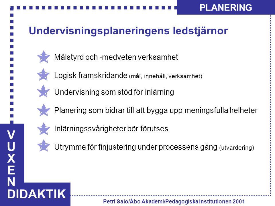 VUXENVUXEN DIDAKTIK PLANERING Petri Salo/Åbo Akademi/Pedagogiska institutionen 2001 Undervisningsplaneringens ledstjärnor Målstyrd och -medveten verks