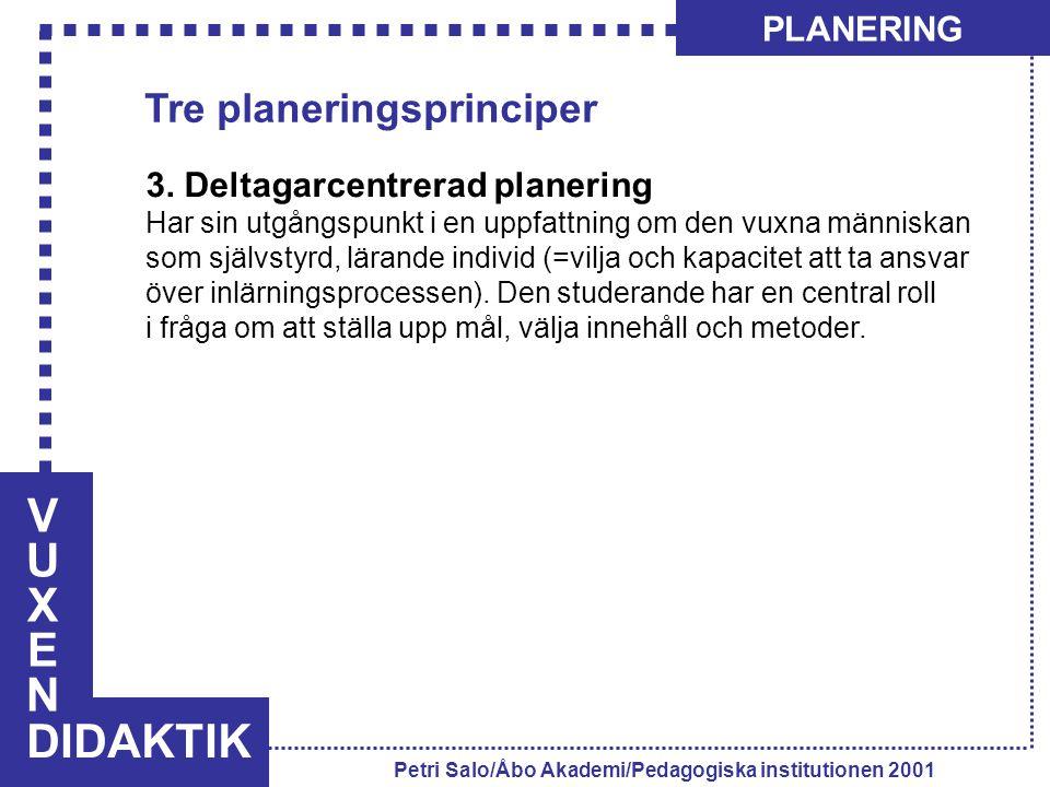 VUXENVUXEN DIDAKTIK PLANERING Petri Salo/Åbo Akademi/Pedagogiska institutionen 2001 3. Deltagarcentrerad planering Har sin utgångspunkt i en uppfattni