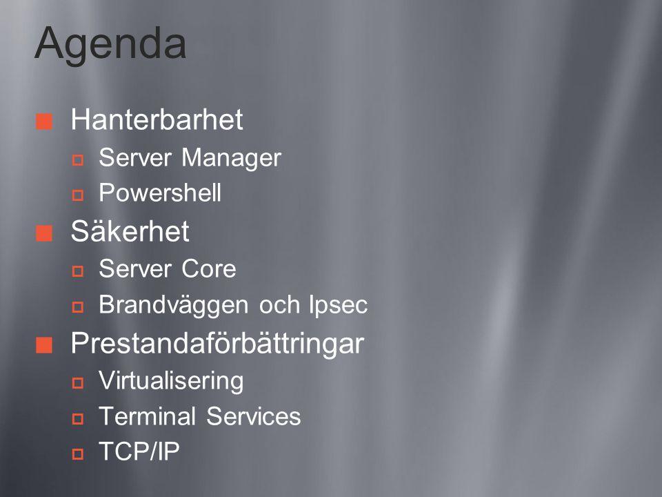 Agenda Hanterbarhet  Server Manager  Powershell Säkerhet  Server Core  Brandväggen och Ipsec Prestandaförbättringar  Virtualisering  Terminal Services  TCP/IP