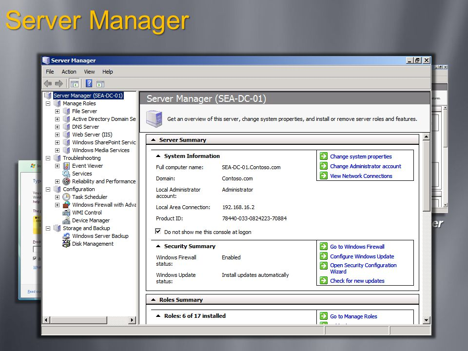 Server Manager Product Installation Initial Configuration Server Manager