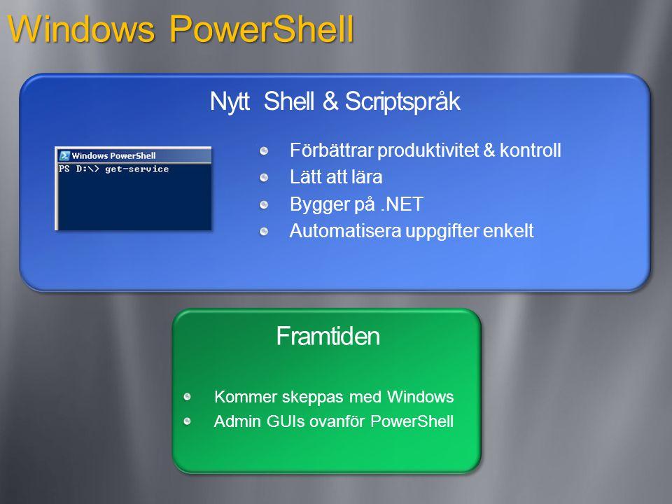 Windows PowerShell Nytt Shell & Scriptspråk Framtiden Förbättrar produktivitet & kontroll Lätt att lära Bygger på.NET Automatisera uppgifter enkelt Kommer skeppas med Windows Admin GUIs ovanför PowerShell