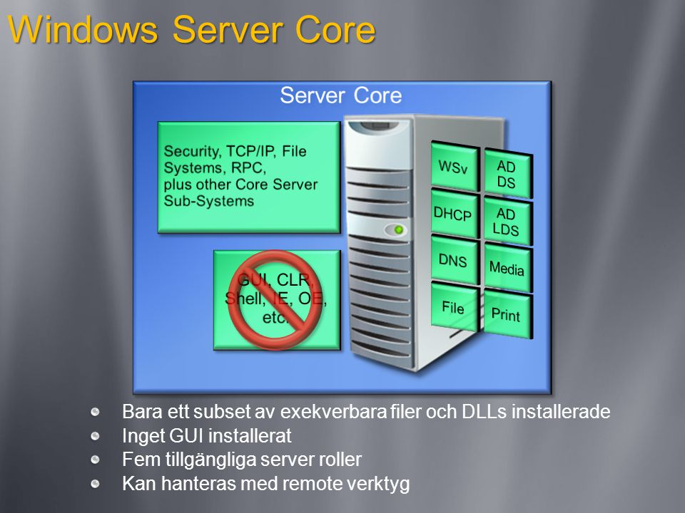 Windows Server Core Bara ett subset av exekverbara filer och DLLs installerade Inget GUI installerat Fem tillgängliga server roller Kan hanteras med remote verktyg