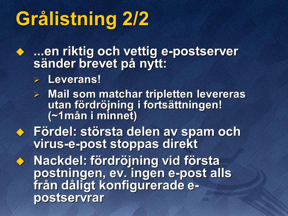 Grålistning 2/2 ...en riktig och vettig e-postserver sänder brevet på nytt:  Leverans.