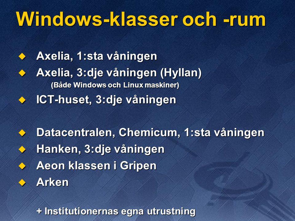 Windows-klasser och -rum  Axelia, 1:sta våningen  Axelia, 3:dje våningen (Hyllan) (Både Windows och Linux maskiner)  ICT-huset, 3:dje våningen  Datacentralen, Chemicum, 1:sta våningen  Hanken, 3:dje våningen  Aeon klassen i Gripen  Arken + Institutionernas egna utrustning