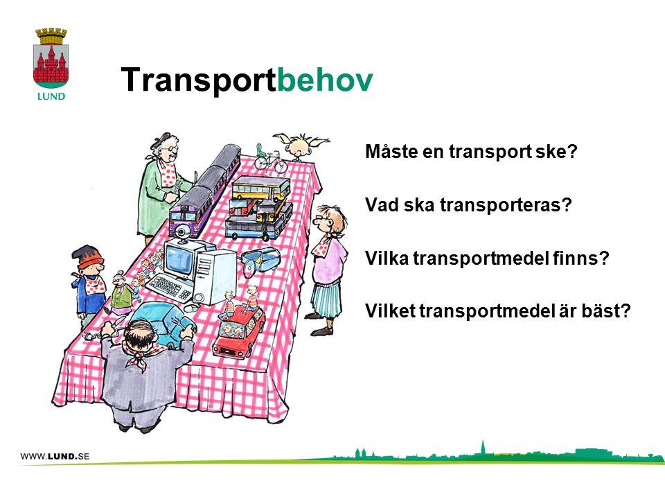 Transportbehov Måste en transport ske? Vad ska transporteras? Vilka transportmedel finns? Vilket transportmedel är bäst?