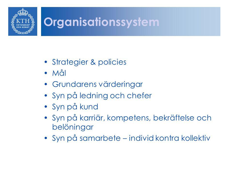 Organisationssystem Strategier & policies Mål Grundarens värderingar Syn på ledning och chefer Syn på kund Syn på karriär, kompetens, bekräftelse och