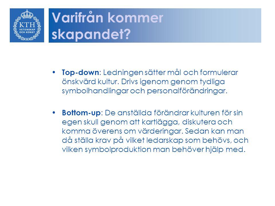 Varifrån kommer skapandet? Top-down : Ledningen sätter mål och formulerar önskvärd kultur. Drivs igenom genom tydliga symbolhandlingar och personalför