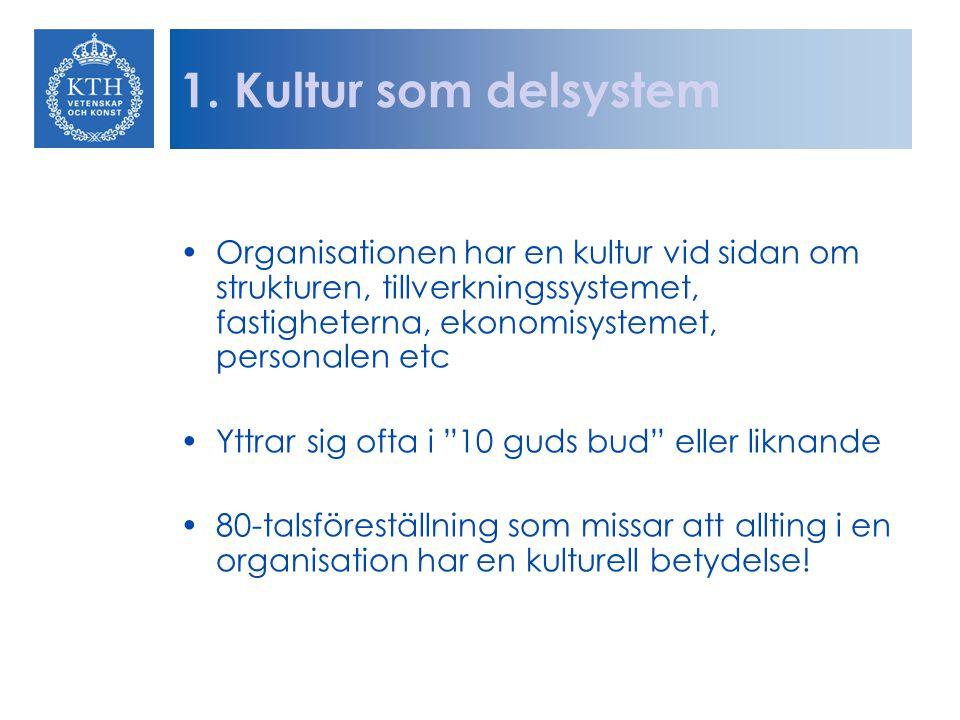Kulturskapande De flesta organisationsförändringar riktar sig mot artefaktnivån Sedan mitten på 80-talet har det blivit allt vanligare att rikta förändringsinsatserna mot systemnivån (charmkurser, utbildningar, teambuilding, policyprocesser) Värdefullt i begränsad omfattning eftersom man sällan artikulerar och ifrågasätter grundläggande antaganden!