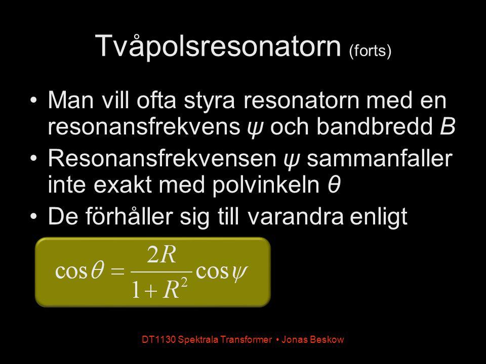 DT1130 Spektrala Transformer Jonas Beskow Man vill ofta styra resonatorn med en resonansfrekvens ψ och bandbredd B Resonansfrekvensen ψ sammanfaller i