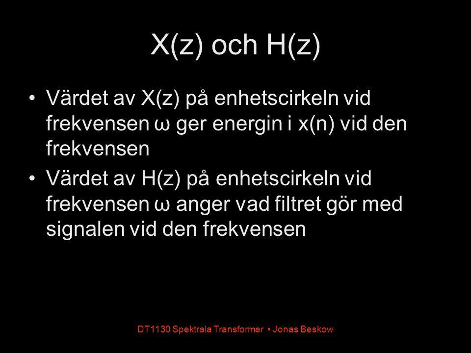 X(z) och H(z) Värdet av X(z) på enhetscirkeln vid frekvensen ω ger energin i x(n) vid den frekvensen Värdet av H(z) på enhetscirkeln vid frekvensen ω