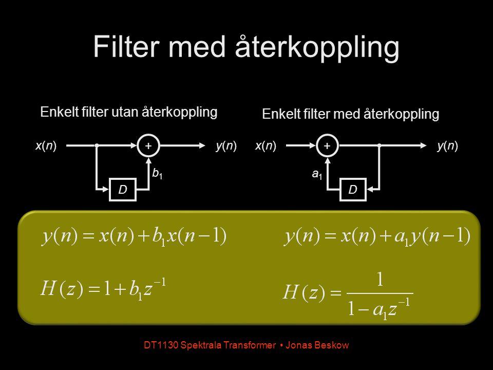 DT1130 Spektrala Transformer Jonas Beskow Filter med återkoppling - impulssvar Impulssvaret från ett återkopplat filter kan ha oändlig utsträckning Kallas även IIR-filter (IIR = Infinite Impulse Response) Kan vara instabilt H(z)H(z) H(z)H(z)