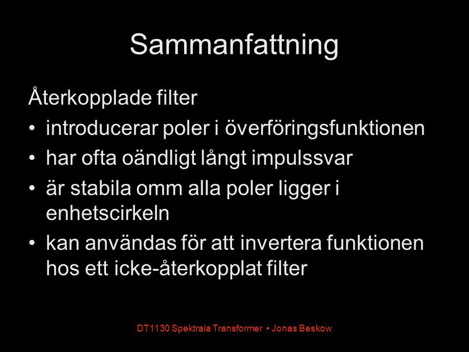 DT1130 Spektrala Transformer Jonas Beskow Sammanfattning Återkopplade filter introducerar poler i överföringsfunktionen har ofta oändligt långt impuls