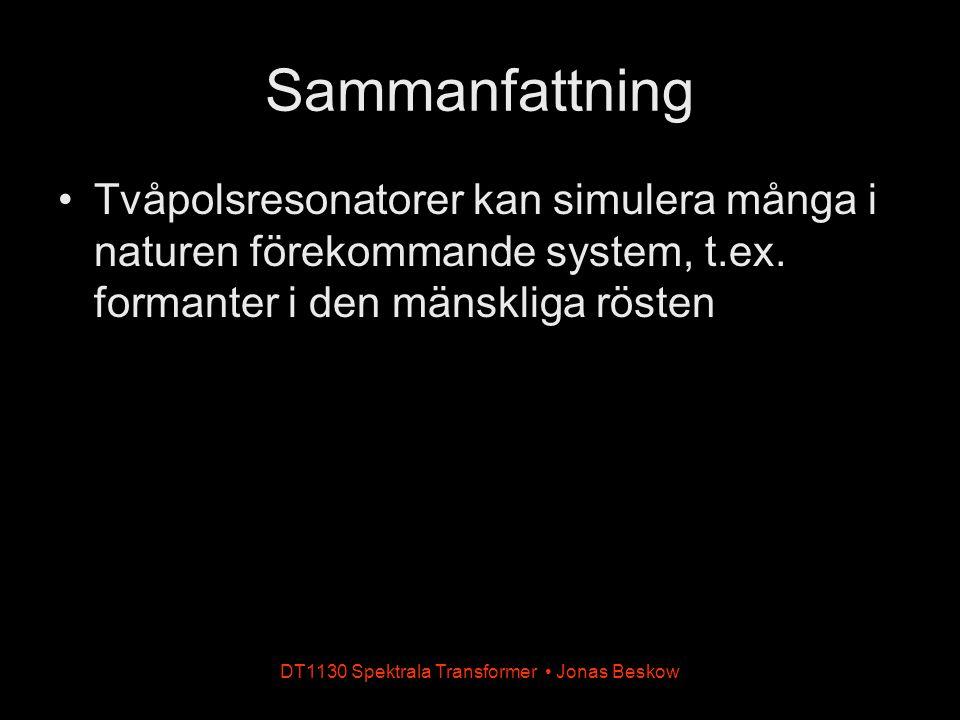 DT1130 Spektrala Transformer Jonas Beskow Sammanfattning Tvåpolsresonatorer kan simulera många i naturen förekommande system, t.ex. formanter i den mä