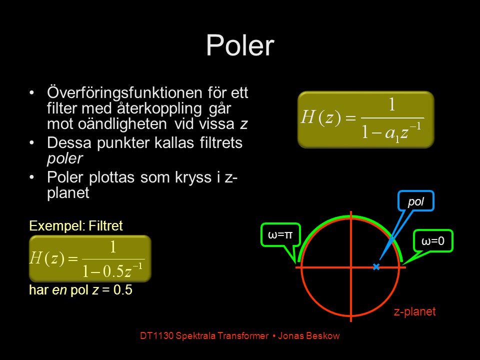 DT1130 Spektrala Transformer Jonas Beskow Kaskad och parallellkoppling H 1 (z) x(n)x(n) H 2 (z) y(n)y(n) H 1 (z) H 2 (z) x(n)x(n)y(n)y(n) = H 1 (z) x(n)x(n) + H 2 (z) y(n)y(n) H 1 (z) + H 2 (z) x(n)x(n)y(n)y(n) =
